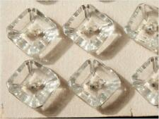 Original card (24) 10mm Czech Vintage Deco crystal faceted square glass buttons