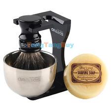 Anbbas Badger Hair Barber Shaving Brush ,Black Acrylic Stand, Bowl and Soap
