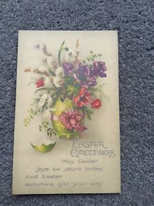 1935 Easter Greetings Postcard, Egg Vase with Flowers.