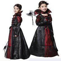 Morticia Vampire Costume Maxi Long Dress Kids Girls Halloween Witch Fancy Dress