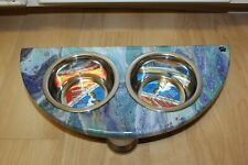 Raised Dog-Cat Feeding Table with 1pt Bowls - BLUE ~ 1/2 Moon