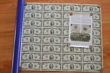 2009 UNCUT MONEY SHEET 32 US $2 Dollar Notes Real Currency