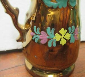"""4"""" tall COPPER LUSTER WARE Pitcher Creamer antique vintage collectible"""