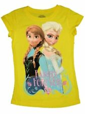 Disney Girls T-Shirt Top Yellow Frozen Short Sleeve Elsa Anna Size 14 16 XL NEW