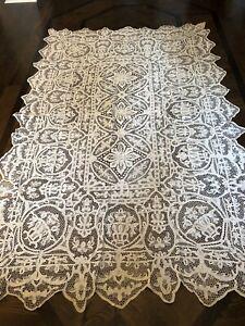 Antique Point De Venice Figural Flower Vase Needle Lace Tablecloth Hand Made