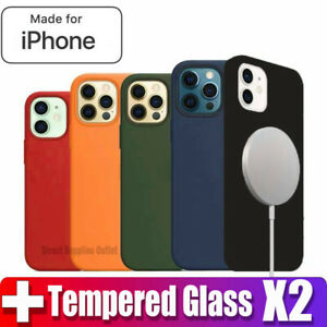 For iPhone 12 Pro Max Mini MAGSAFE Gel Case Cover Magnetic 2 x Tempered Glass