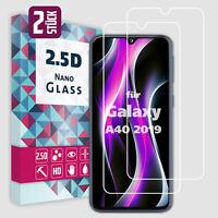 2x Panzerfolie Glas für Samsung Galaxy A40 2019 Panzer Schutzglas Schutzfolie