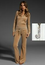 JUICY COUTURE Velour track J bling HOODIE AND BOOTCUT PANT Beige SET new L $234