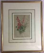 Geranium Color 1880s Color Lithograph Professionally Matted and Framed Alum Root