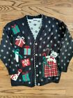 Vintage Ugly Christmas Sweater TeddyBear Presents Button up  Size Lg