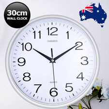Silent Round Wall Mountable 30cm Quartz Analogue Clock Silver Home Decor AU Ship