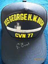 President Bush autographed aircraft carrier baseball cap