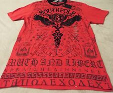 Southpole Men's XL Tee Red With Black Graphics~2 Headed Bird And Snakes MSRP=26