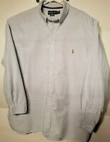 Polo Ralph Lauren Mens Button Down Classic Fit Shirt Blue And White Striped 3XB