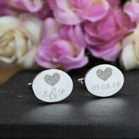 Personalised Engraved Silver OVAL Wedding Cufflinks with Love Heart