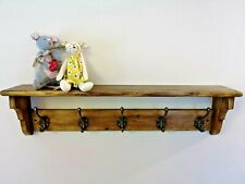 Reclaimed Vintage Pine Coat Rack and Shelf with Cast Iron Hooks