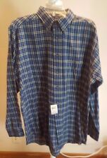 NEW Club Room Mens Size Large Cotton Flannel Long Sleeve Plaid Navy Window Pane