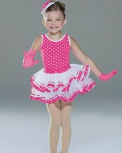 NEW Child Dance Costume Hot Pink Polk-a-dot Leotard Sz Child XS 4 Gloves Hair Pc