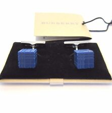 L-2584990 New Burberry Mid Indigo Check Cube Enamel Cufflinks