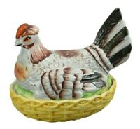 Antique French Hen Chicken and Chicks on Nest Majolica Terrine Dish Pate Dish