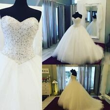 Luxury Beaded White/Ivory Ball Gown Wedding Dresses Bridal Gown Custom Made