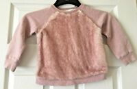Girls Next Pink Jumper Fluffy Front Long Sleeve Subtle Sparkle Age 3 Years B2