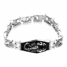 Scorpion Stainless Steel Black Enamel Silver Chain Bracelet Motorcycle Gift