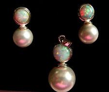 Sterling Silver Gilson Opal & Pearl Pendant & Stud earrings Set Bridal jewellery
