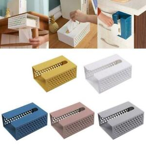 Wall Mounted Adhesive Tissue Box Napkin Toilet Paper Holder Shelf Dispenser U7V5