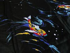 Vintage Koi Fish Asian Multi Purpose Fabric Black Bright 2.5+ yds Sheer & Silky