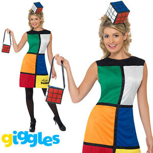 Rubiks Cube Costume Womens Ladies 1980s Female Halloween Game Fancy Dress Outfit