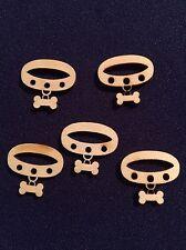 10 x Wooden Mini DOG COLLAR EMBELLISHMENT Craft Card Scrapbook Art sd97