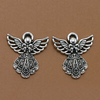10pcs Antique Silver Wing Angel Charms Beads Pendants for DIY Bracelet /-