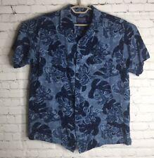Mens PENDLETON Short Sleeve Loop Collar Hawaiian Shirt L 100% Rayon Blue Floral