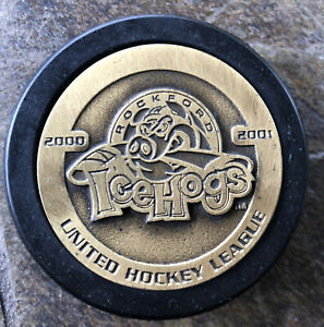 Icehogs Hockey Puck UHL Not AHL Bronze Medallion Puck 2000 Rare Vintage Puck