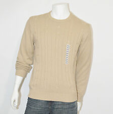 OSCAR DE LA RENTA Mens Beige Cable knit Crewneck Sweater Pullover Top sz Medium