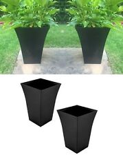 2 NEW Black Large Milano Tall Planter Square Plastic Garden Flower Plant Pots