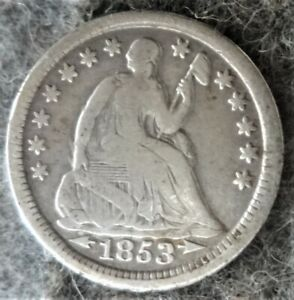 Silver 1853 US Philadelphia Mint Seated Liberty Half Dime -Type 3 - Arrows