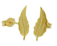 ECHT GOLD *** Ohrstecker Blatt 12 mm, matt-diamantiert
