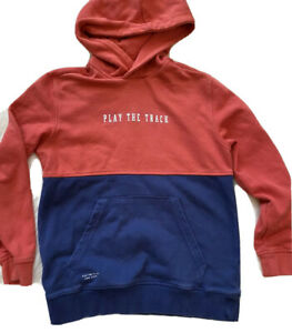Zara Hoodie Sweatshirt Boys 10 Play The track Red Blue Colorblock Athletic