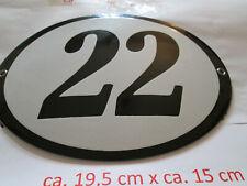 Hausnummer Oval Emaille schwarze Nr. 22  weißer Hintergrund 19 cm x 15 cm #