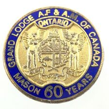 Vintage Mason Grand Lodge Of Ontario Canada 60 Years Member Gold Filled Pin N878