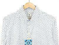 Ganesh Mens Long Sleeve White Geometric Long Sleeve Stretch Slim Shirt - M