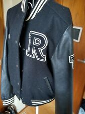 Vintage Roots Canada Letter Man Jacket Black Leather & Wool Varsity M to L, 73