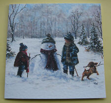 20 Quality Christmas Cards and Envelopes CHILD'S PLAY Snowman Children Dog