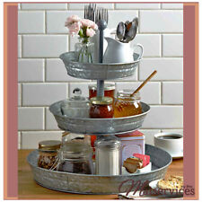 3-Tier Galvanized Serving Tray Round Metal Indoor/Outdoor Country Food Stand NEW