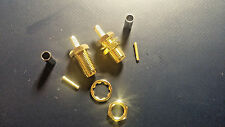 2X GOLD PLATED SMA FEMALE CONNECTORS RG174/RG316/LMR100. SOLDER PIN AND CRIMP