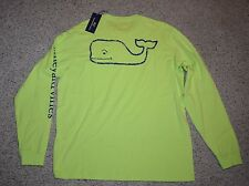 NWT Vineyard Vines Shirt Long Sleeve Men Medium M Whale Lime Green Tart Apple
