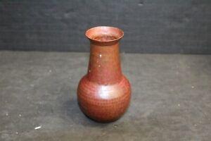 Arts Crafts Hammered Pounded Copper Bulbous Cabinet Vase Signed JS