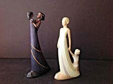 Vtg Set Ceramic Enesco Parastone Ivory & Mahogany Princess Figurines Lady w/Girl